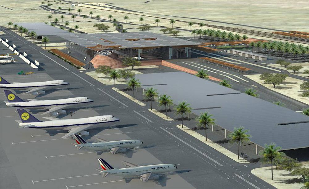 כך אמור להיראות נמל התעופה ''אילן ואסף רמון'' בתמנע. השקעה של 1.7 מיליארד שקל. האם רשות שדות התעופה תצליח לכסות אותה? (הדמיה: באדיבות משרד התחבורה)