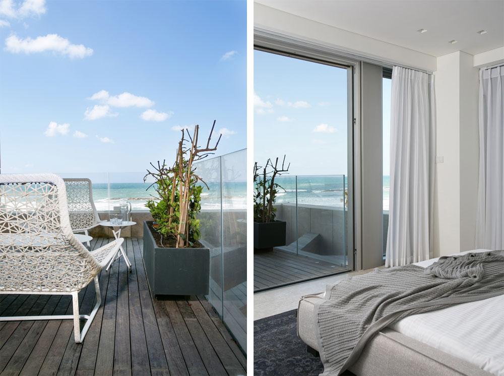 לחדר השינה הראשי מרפסת שאליה אפשר להיכנס גם מהסלון. המיטה פונה אל הים (צילום: שירן כרמל)