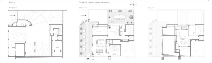 תוכנית החניה התת קרקעית (משמאל), לובי, חצר פנימית, בר וחדר כושר קטן בקומת הכניסה (במרכז) וספא שבו מיטות טיפולים, חמאם וסאונה (מימין)