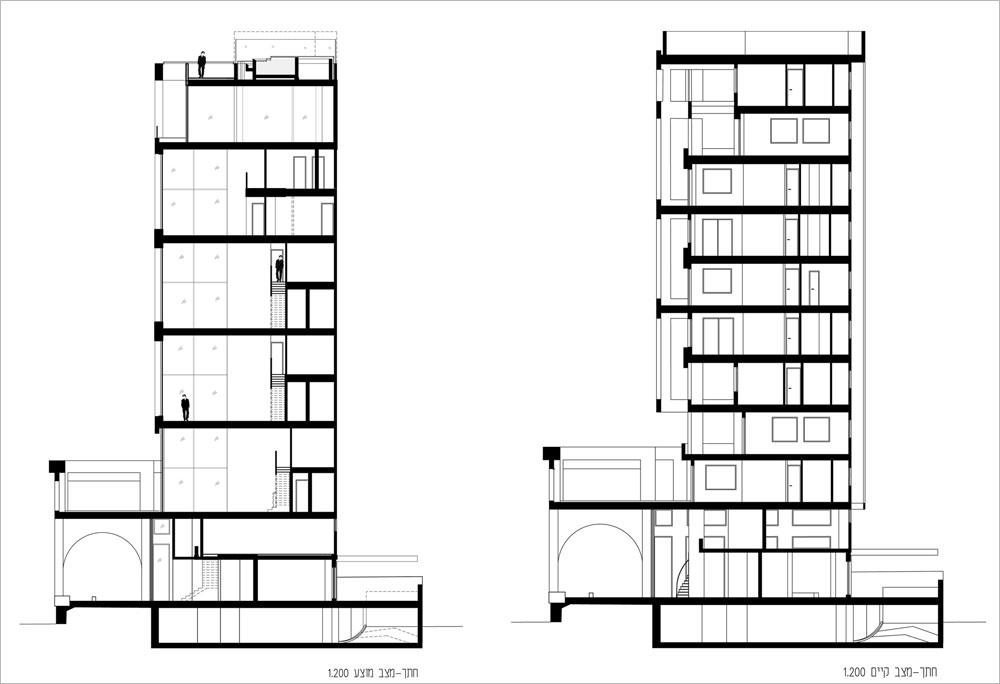 מימין: חתך הבניין כפי שנבנה באמצע שנות ה-90. משמאל: החלוקה החדשה, לשלושה דופלקסים (אחד משותף ושניים לשתיים מהמשפחות הרוכשות), טריפלקס בן 430 מ''ר בקומות העליונות ובריכה משותפת על הגג. עלות השיפוץ: כ-7,000 דולר למ''ר