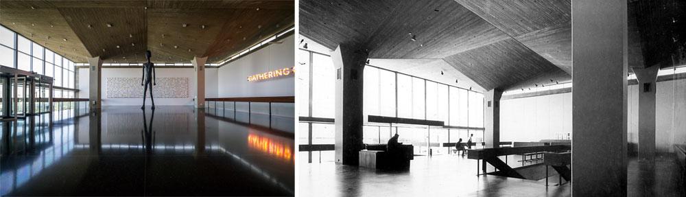 אז והיום. ביתן הכניסה של המוזיאון, גם הוא עם התקרה המרחפת מעל עמוד בטון וחלונות-סרט שמחדירים אור פנימה (צילום: איתי סיקולסקי  ומארכיונו של אל מנספלד, באדיבות מיכאל מנספלד)