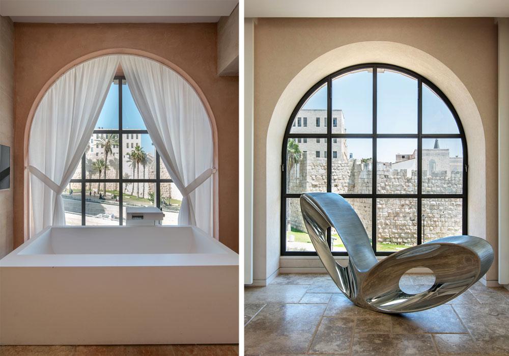 בין החלונות לחומות העיר העתיקה מפרידים פחות מ-50 מטרים. מימין חלון בסלון, משמאל חלון באחד משני חדרי הרחצה שביחידת ההורים (לכל אחד מבני הזוג חדר רחצה וחדר ארונות) (צילום: אילן נחום)