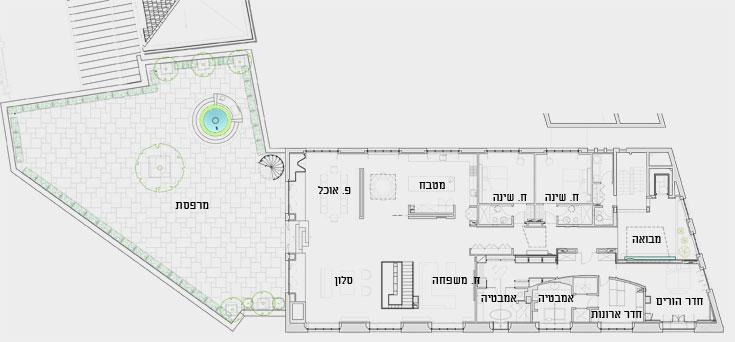 תוכנית הקומה העליונה: מימין המבואה שעוצבה כמו חצר פנימית, המסדרון שמשני צידיו חדרי שינה, ואזור ציבורי עצום, שממנו יציאה למרפסת גדולה