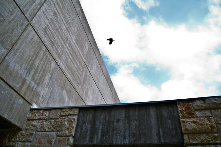 האדריכל אריה אלחנני עיצב את הספרייה ברוח התקופה, בסגנון הברוטליסטי: קונסטרוקציה וחומרים חשופים (צילום: יניב ברמן)
