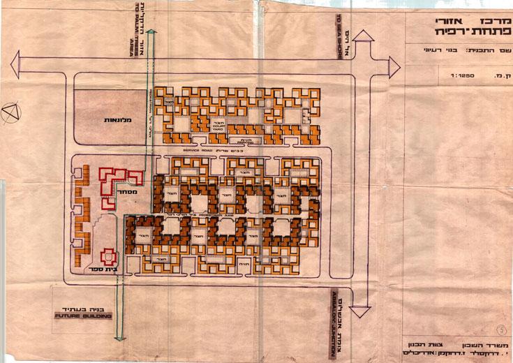 תוכנית המתחם הראשון שהוקם בימית: מארג של בתי מגורים סביב חצרות פנימיות עם הפרדה מוחלטת בין הולכי רגל למכוניות (באדיבות ארכיון טוביהו באוניברסיטת בן גוריון)