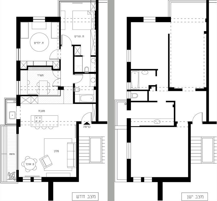 החלוקה המקורית של הדירה (מימין), והחלוקה החדשה: המטבח ''הוכנס'' לסלון, המרפסת הוכנסה לחדר השינה, וחדר הרחצה הישן הפך לחדר עבודה (באדיבות זרקה אדריכלים)