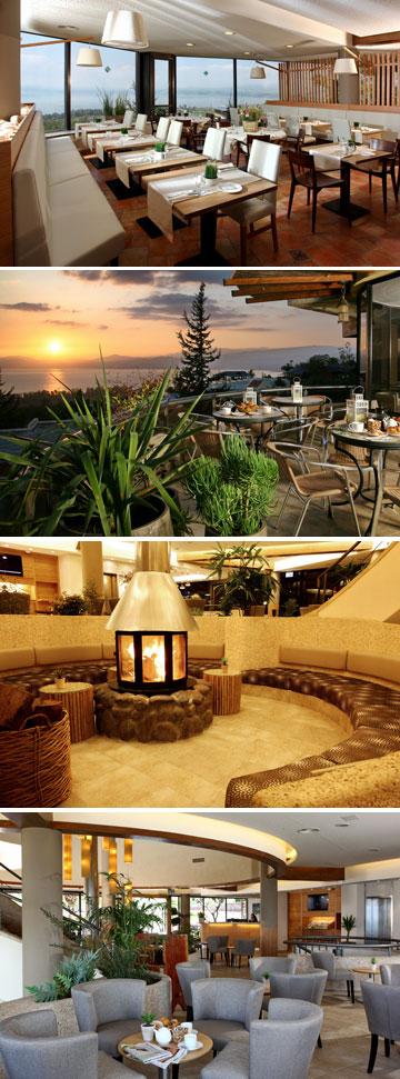 מתחם המסעדה, הלובי והבר בבית המלון של כפר הנופש רמת (צילום: גל פלוטניקוב )