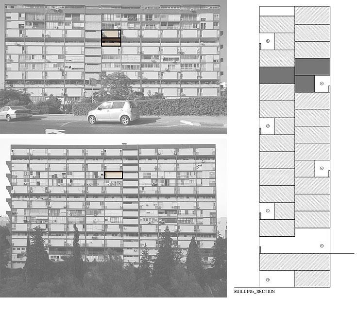 כל דירה היא בת 85 מ''ר ומתפרסת על שלושה מפלסים. בתמונה משמאל למעלה מודגשים חלונות המפלס התחתון והעליון, הפונים לרחוב. בתמונה שמתחתיה מודגש חלון הסלון, הפונה לוואדי. מימין פריסת הדירות, ששזורות אלה באלה במעין ''טטריס'' (צילום: יהב מרום)
