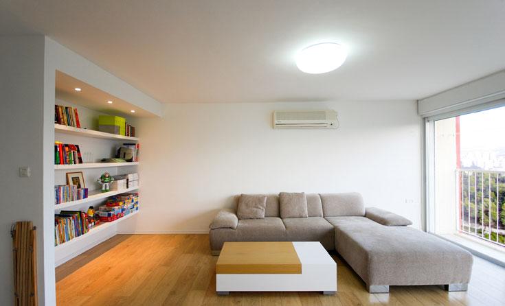 הריהוט מינימליסטי: ספה אפורה , שולחן קפה גיאומטרי ונישת מדפים (צילום: יהב מרום)