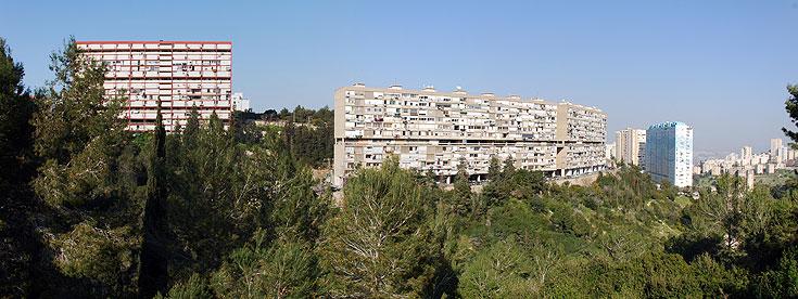 כך זה נראה מבחוץ: שיכון ענק שנבנה ב-1960, מזדקר מול אחד הוואדיות של הכרמל ומכיל 130 דירות (צילום: יהב מרום)