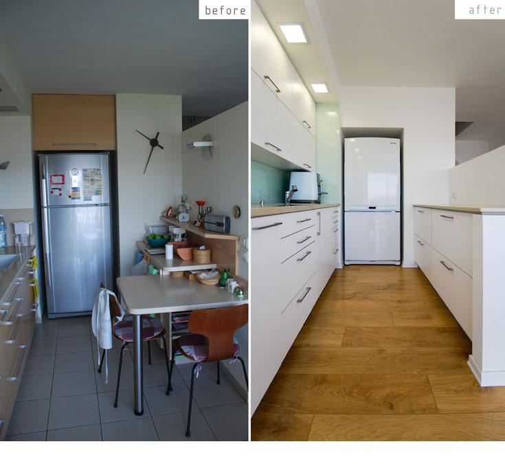 המטבח ''לפני'' (משמאל) ו''אחרי'' (צילום: יהב מרום)