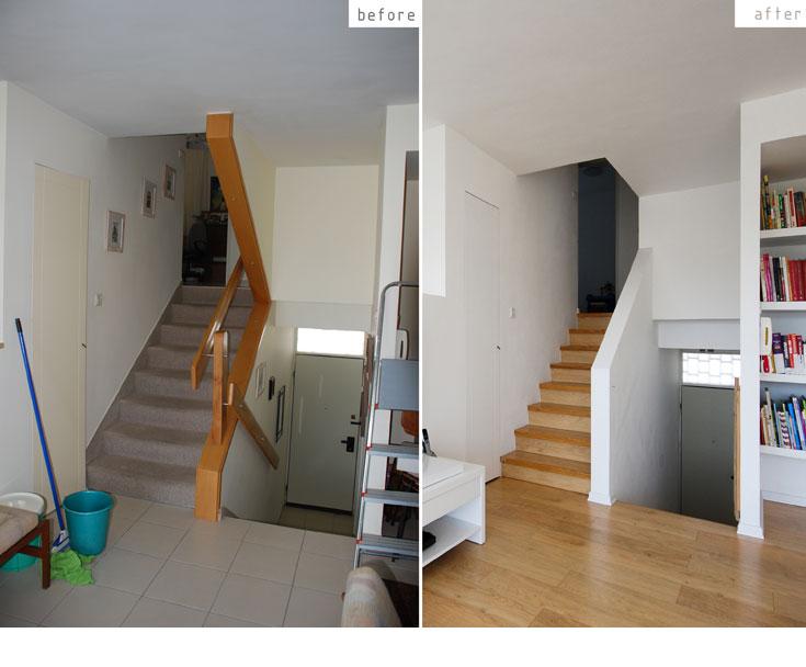 כך רועננה ושודרגה הדירה: הרצפה חופתה פרקט למינציה. מעקה העץ של גרם המדרגות (משמאל) פורק והוחלף במעקה בנוי צבוע לבן (צילום: יהב מרום)
