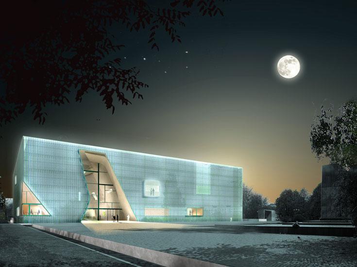המוזיאון לתולדות יהודי פולין, בתכנון האדריכלים הפינים ריינר מהלמקי ואילמרי להדלמה. מבנה מצופה זכוכית, שנחלק לשניים באמצעות חתך גס שמסמל את קריעת ים סוף (באדיבות Architects Lahdelma and Mahlamaki)
