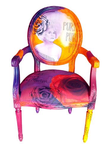 כיסא מקו Andy Dandy, חיבור בין מעצב הרהיטים ג'ימי מרטין לאמנים כריסטופר מאקוס ופול סולברג  (צילום: Jimmie Martin)