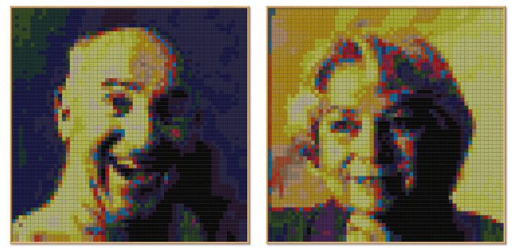 NANNA AND BUM הן שני ציורים מפוקסלים שנעשו עם הטקסטיל של קוודראט. עבודה של MADS HJORT