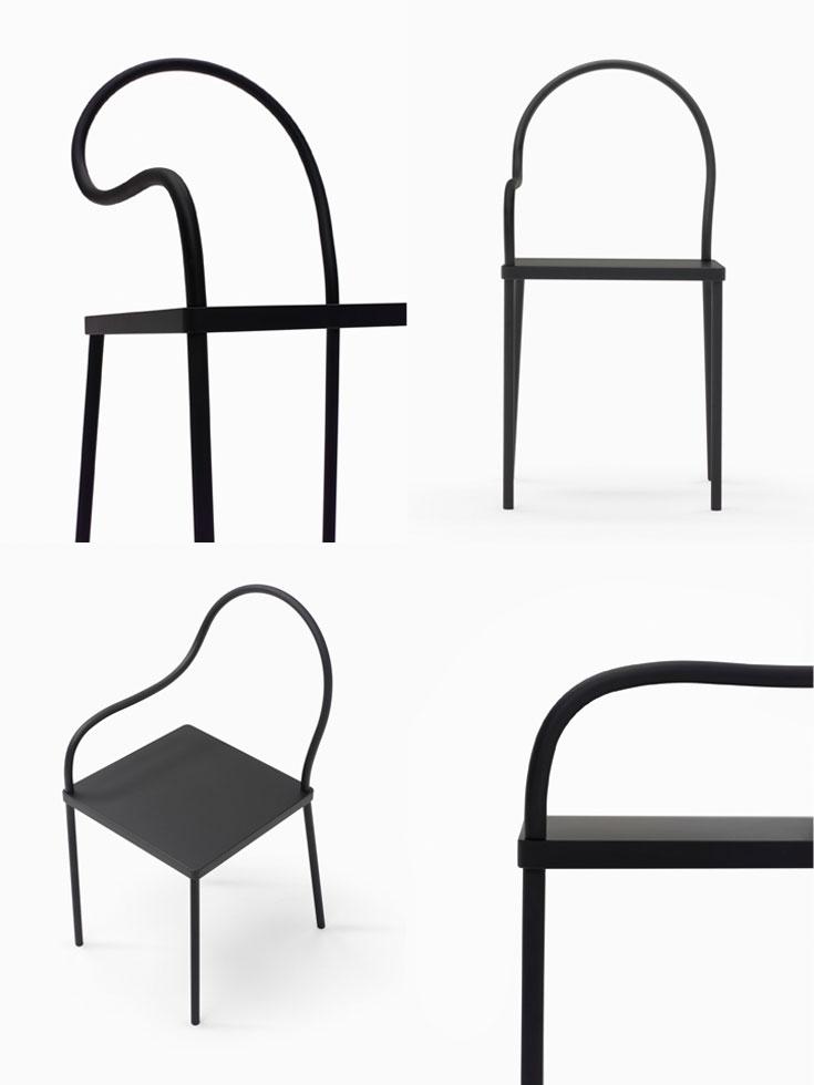 ב''ננדו'' חוקרים ברצינות חומרים, צורות ומבנים. הביטוי הטהור ביותר הוא ''שחור על שחור'', עבור KPERCENT מסינגפור, בשבוע העיצוב במילאנו, השנה (צילום: באדיבות Percent)