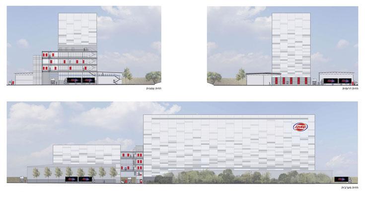 הדמיות המבנה: למעלה, המעטפת שבוצעה; למטה, חלופה שלא התקבלה (באדיבות אדריכל יעקב גיל עד)