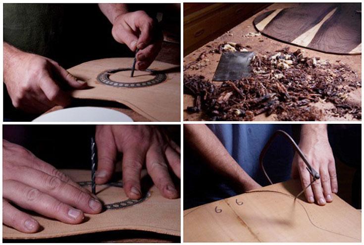 צילומים מתוך ספר בניית גיטרות, המתעד את שלבי הבניה של גיטרת קונצטרים מסורתית (צילום: גיא שילון ואסף רזון)