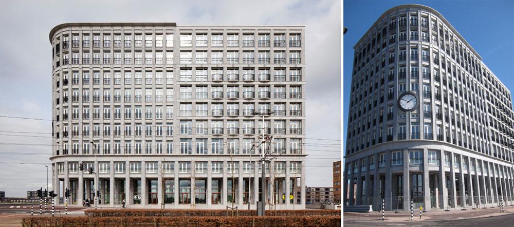 היזם של בניין Solids באמסטרדם מאמין ב''חברה פתוחה''. הפירוש: חברת רהיטים בקומת הקרקע, גן ילדים בקומה השנייה, מלון בוטיק בשלישית ומשרדים ודירות בכל היתר (צילום: cc, jpmm ובאדיבות Baumschlager Eberle Wien ZT AG)