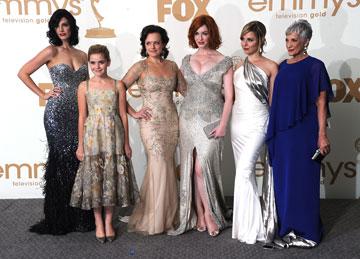 """הנשים של """"מד מן"""" על השטיח האדום (צילום: gettyimages)"""