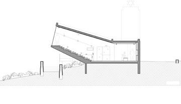 חתך האודיטוריום בבית יד לבנים החדש בנשר (תכנית: SO Architecture - אדריכל שחר לולב ואדריכל עודד רוזנקיאר)