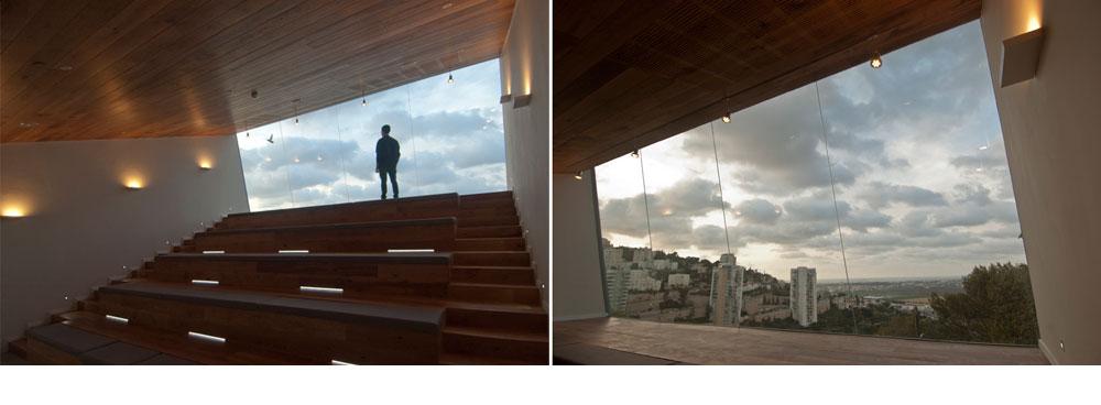 מבט במפנים: ספסלי עץ וחלון גדול. ''חוק יד לבנים'' מעניק תוקף לריבוי הפונקציות באתרי ההנצחה, מכיוון שרבים מבתי יד לבנים ממוקמים ביישובים קטנים, שבהם אין מבני ציבור אחרים (צילום: תומר נחשון)
