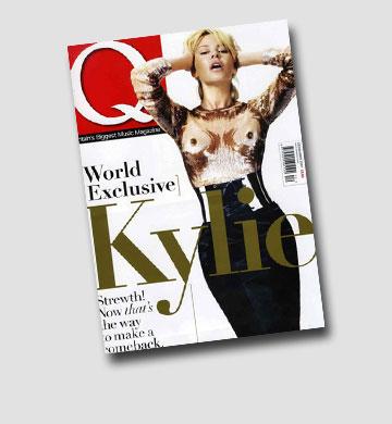 חוגגת את ההחלמה מסרטן השד.  קיילי מינוג על שער מגזין Q