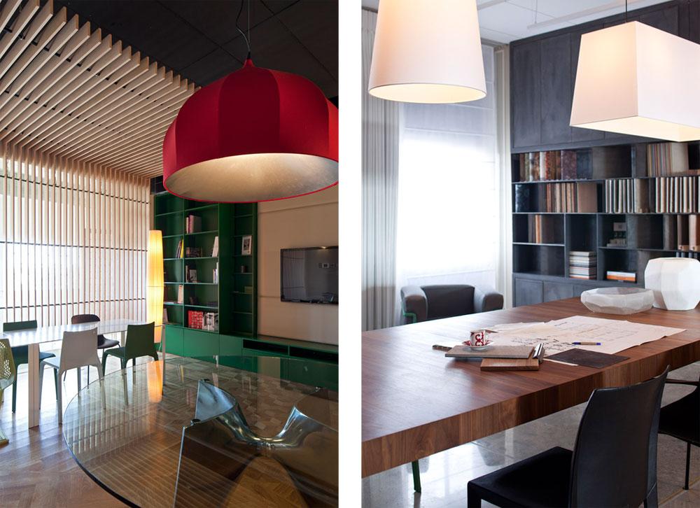 משמאל: חלל מדיה דיגיטלית, תחום בספרייה ירוקה שחלקיה ניתנים להזזה (''woodenart''). הרצפה חופתה פרקט (''eu פרקט''). שולחן הזכוכית בעל רגל הנירוסטה הוא עיצוב של צ'ירוטי באלרי והמנורות מ-''st אור'' (צילום: עמית גרון)
