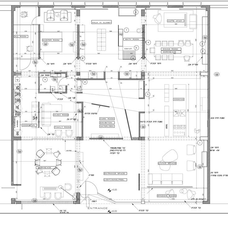 תוכנית החלל, 320 מ''ר שטחו. תשעה ריבועים - חללי תצוגה ועבודה, שמקיפים קובייה מרכזית, שבה תערוכות מתחלפות והרצאות (באדיבות יומא אדריכלים)