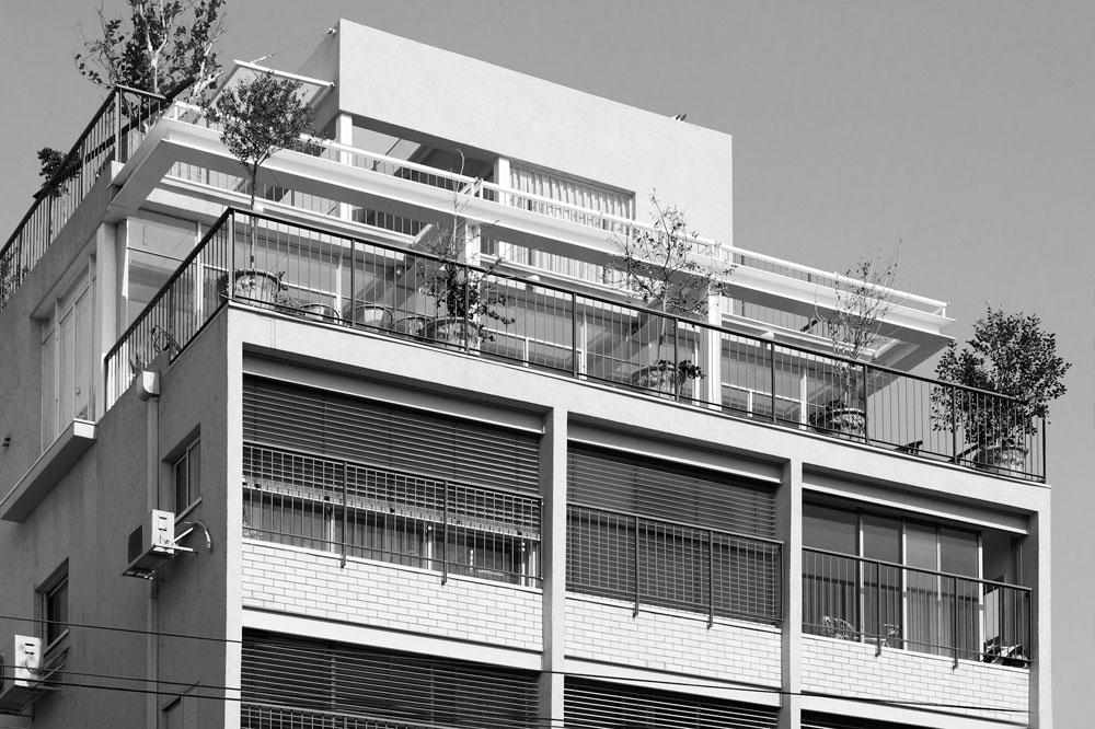 המקום: רחוב טשרניחובסקי בתל אביב, מול גן מאיר. מטראז': 170 מ''ר בארבעה מפלסים, ועוד 160 מ''ר של מרפסות. הבעלים, אילון ערמון - מעצב תעשייתי ויזם נדל''ן - קנה אותה לפני כעשור. אז זו  היתה דירת גג קטנה בבניין ישן משנות ה-60. הוא הציע לשאר הדיירים לשפץ ולחזק את הבניין כולו, בתמורה לקבלת שטח הגג כולו, שעליו בנה דירה חדשה (צילום: עמרי אמסלם)