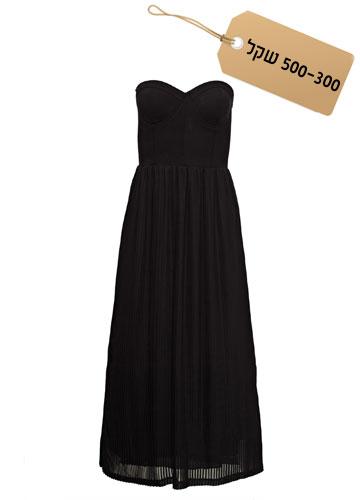 קלאסית: שמלת מקסי בשתי שכבות בגזרת סטרפלס, 499 שקל, קסטרו (צילום: אודי דגן)