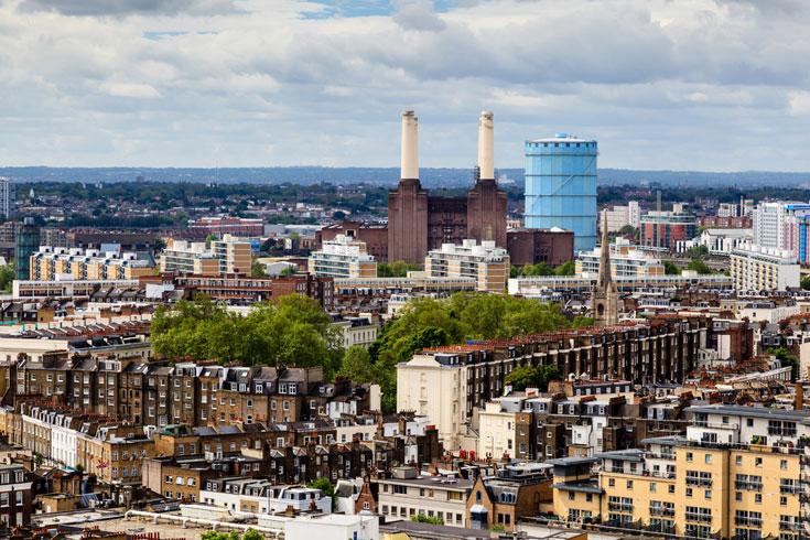 המבנה המוזר נראה לכם מוכר? זה בגלל הפינק פלויד. שכונת באטרסי בלונדון (צילום: shutterstock)