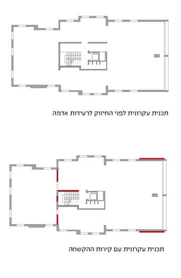 באדום מסומנים קירות ההקשחה שנוספו לבניין (באדיבות זרחי אדריכלים)