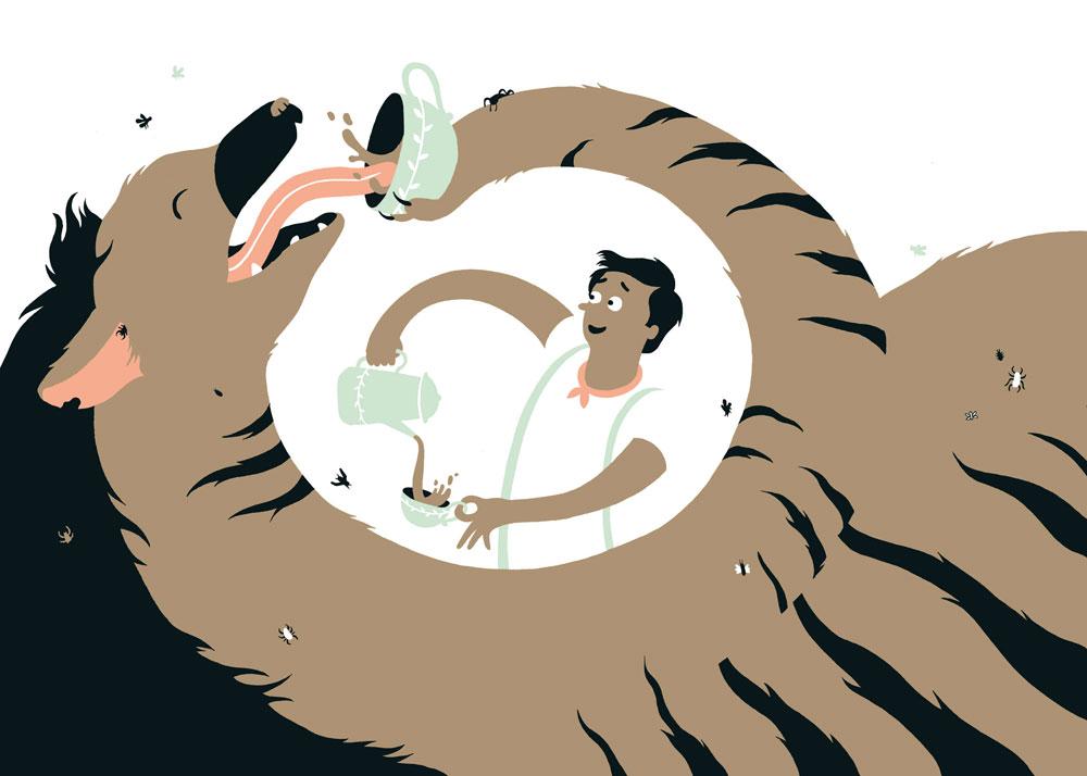 איור מתוך הספר ''הנסיכה תבוא בארבע'', שנעשה במסגרת פרויקט גמר בבצלאל ויוצג בתערוכה המוקדשת לאיורים בספרי ילדים (איור: ניב תשבי, ''הנסיכה תבוא בארבע'' מאת וופדרטריך שנורה)