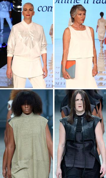 """רק אל תקראו להן """"נשים אמיתיות"""". תצוגות האופנה של קום איל פו וריק אוונס (צילום: gettyimages, אורית פניני)"""