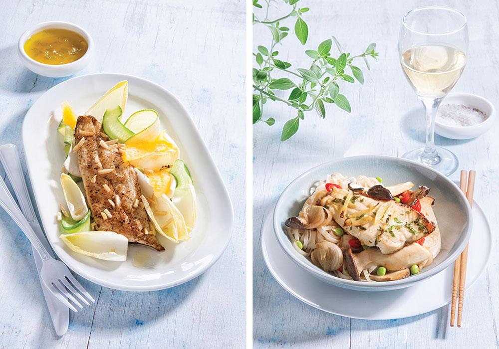 מימין: פילה פורל עם אטריות אורז ופטריות מלך היער; משמאל: פילה פורל קריספי עם עולש וקישואים (צילום: דני לרנר סגנון: פסי ברניצקי)