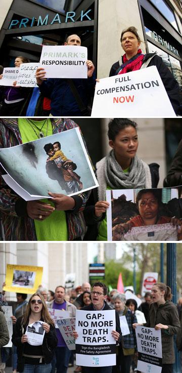 הפגנות בעולם בעקבות האסון במפעל הטקסטיל (צילום: rex, gettyimages)