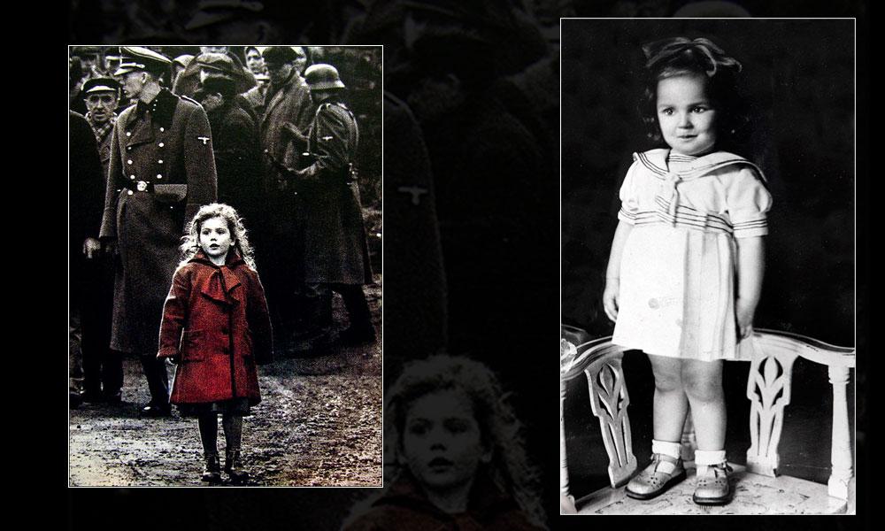 """הילדה מאחורי הסמל. גניה-גיטל חיל (מימין) ששימשה השראה לילדה במעיל האדום מ""""רשימת שינדלר"""""""