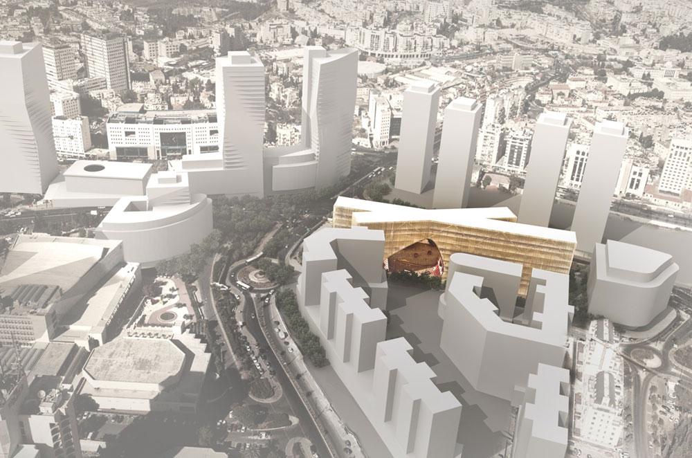 הדמיה נוספת של הצעתם של פלג אדריכלים וארז אלה. תנאי הפתיחה של התחרות הוגדרו ''דרקוניים'' וגם השופטים מתרעמים עליהם (תכנון: HQ אדריכלים ופלג אדריכלים)