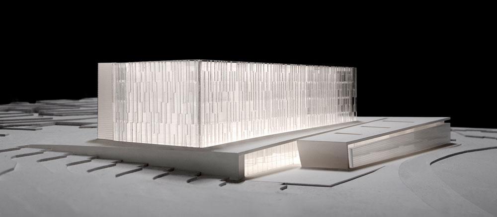 ההצעה של חיוטין אדריכלים, שזכתה בתחרות קודמת לתכנון היכל המשפט בירושלים במיקום אחר (זכייה שבוטלה) (תכנון: חיוטין אדריכלים)