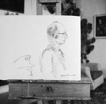 מציירים את אייכמן לדיווחים העיתונאיים שהועברו מהמשפט (צילום: דוד רובינגר)