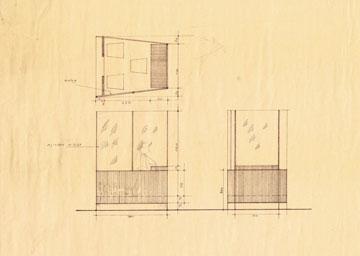 שרטוטיו של נחום מרון לתא הזכוכית של הנאשם (באדיבות ארכיון אדריכלות ישראל)