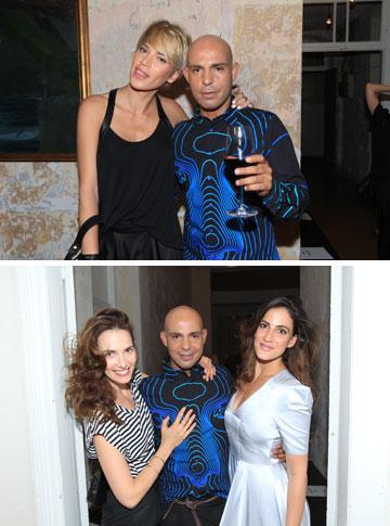 יוסף עם נטלי דדון, רונה לי שמעון ויעל גולדמן בתצוגת האופנה שלו (צילום: רפי דלויה)