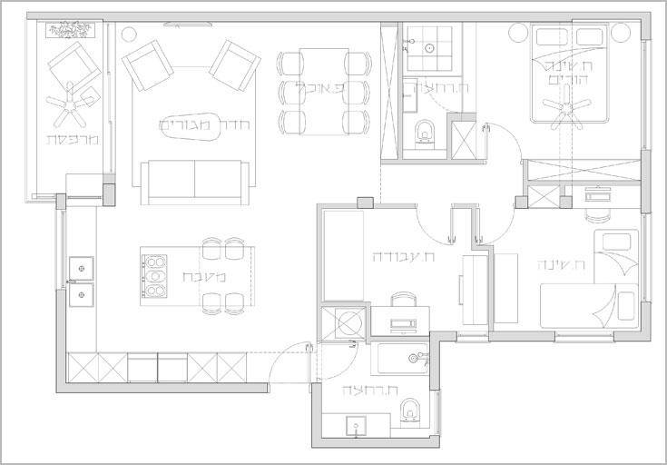 תוכנית הדירה אחרי השיפוץ. במקום החדר יש מטבח, במקום המטבח הישן - פינת אוכל (תכנית: ארז ברוכי)