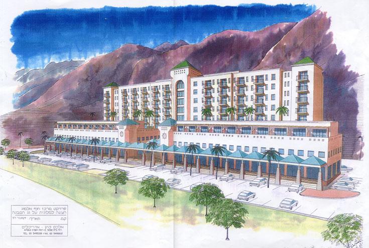 התוכנית לשיקום המרכז המסחרי באילת: הקמת מלון מעל הבניין הקיים ומאחוריו (תכנון: אלכס כהן)