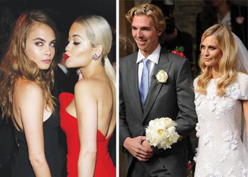 מימין: האחות פופי והבעל הלוהט ביום חתונתם; משמאל: קארה דלווין והבסטי, הזמרת ריטה אורה. (צילום: gettyimages)
