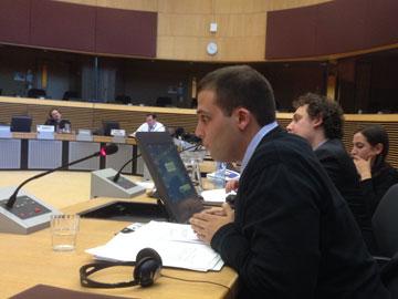"""בכנס הסברה מטעם האיחוד האירופי. """"חיילי צה""""ל נתפסים כמשהו רע"""" (צילום: ינאי כהן, באדיבות עידו דניאל)"""