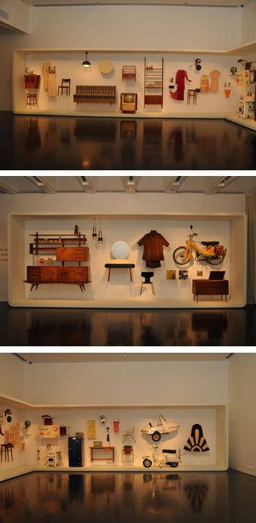 """מתוך המיצב """"1965 היום"""". פריטי לבוש שנבחרו בפינצטה מתוך הארכיון לאופנה ולטקסטיל של שנקר (צילום: פטר לני)"""