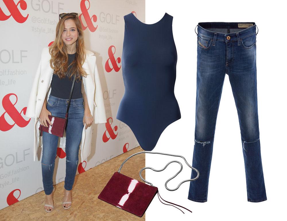 אגם רודברג מדויקת בג'ינס קרעים של דיזל (800 שקל) ובבגד גוף ותיק של H&M STUDIO (מחיר: 199 שקל לבגד גוף, 249 שקל לתיק) (צילום: רפי דלויה, הנס מוריץ, טל טרי)
