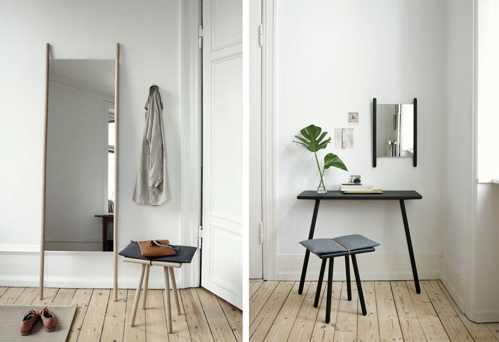 מראות שהן חלק מסדרת רהיטים של המעצבת כריסטינה ליליינברג האלסטרום למותג SKWGEREK. המוטות הממסגרים את המראה משמשים גם כתומכות המאפשרות להשעין אותה על השולחן או על הקיר, ויש לה שני גדלים. בגרסה הגבוהה המוטות יכולים לתפקד גם כקולב זמני לבגד (באדיבות SKWGEREK)
